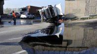 Körfez'de Tanker Devrildi, 15 Ton Asfalt Yola Aktı